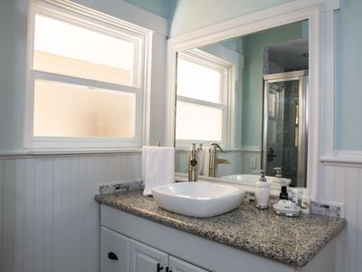The hallway bathroom vanity has plenty of space for getting ready!