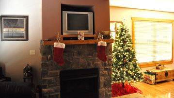 A warm fireplace at Christmastime...what could be better?