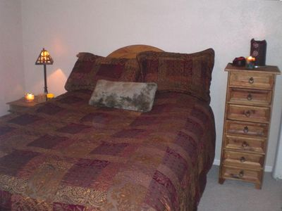 Comfortable, oversized, pillow top Queen bed will get you ready for tomorrow.