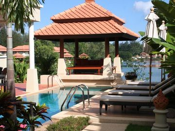 Bangtao beach villa rental - Private swimming pool and covered sala.