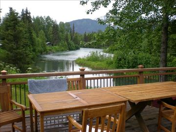 Seward cottage rental - View of beautiful Trail River from our deck