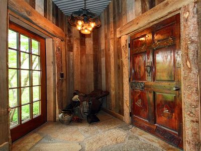 Just a cool little nook with walls from pickle barrels. Lots of rustic charm!