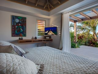 St Barthelemy villa photo - Villa Imagine - Luxury King Size Bedroom leading to outdoor terrace