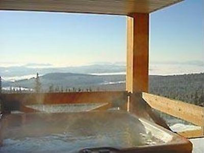 Enjoy views of the ski slopes below and the Fireworks from our Private Hot Tub!