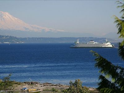 Mount Rainier and Seattle ferry view from outside of your suite