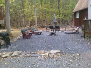 Bushkill house photo - Side Patio w/ Seating, Firepit and Gas BBQ Grill