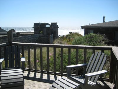 View of the ocean from the dining room deck - ready and waiting for you!