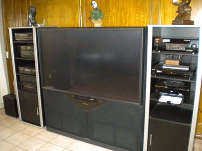 Entertainment center with 65 HDTV & 10 Speaker Surrond System