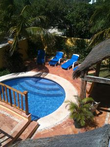 Isla Mujeres villa rental - View of Pool Terrace from Outdoor Dining Terrace