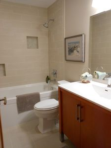 Newly remodeled main bath with Kohler fixtures and soaking tub.