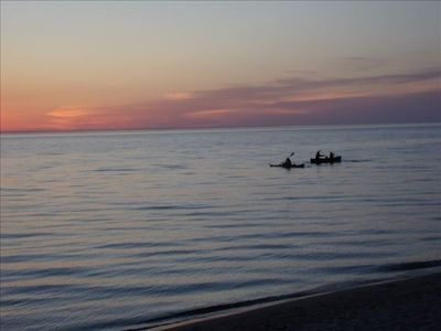 Kayaking on Lake Michigan at the end of another day in paradise