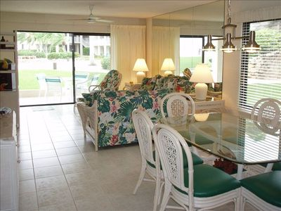 Dining room and Living Room leading out to your private patio. Island decor!