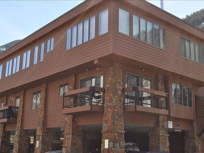 Our corner unit with two balconies.  Covered parking is on the ground floor.