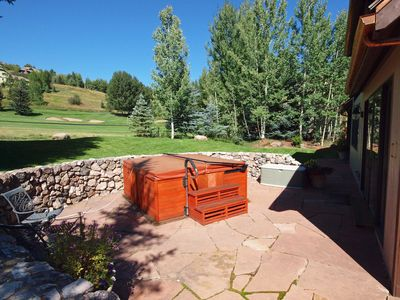 8 Person Hot Tub, toward Golf Course, Walkway has heated snowmelt path in winter