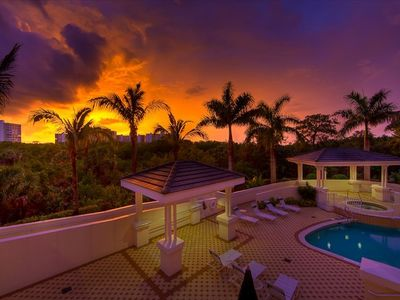 Beautiful pool at sunset