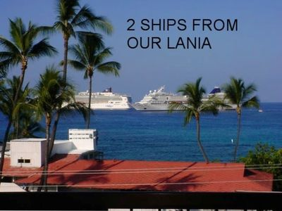 Kailua Kona condo rental - TWO CRUISE SHIPS SEEN FROM OUR CONDO LIVING ROOM