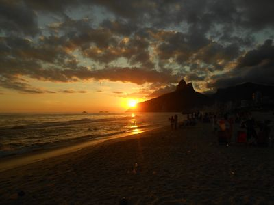 Ipanema beach,Stone  Dois Irmãos in the background