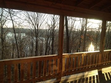 French Lick cabin rental - Patoka Lake in winter, as seen from the master bedroom.