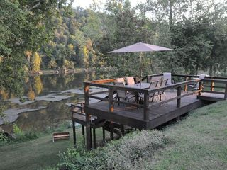 Gassville cabin photo - Upper deck & river w/no generators running @ dam