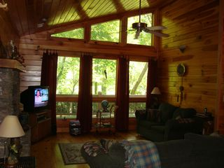 Murphy cabin photo - Pine Interior and Cathedral Ceilings -- with a Great View of the Creek