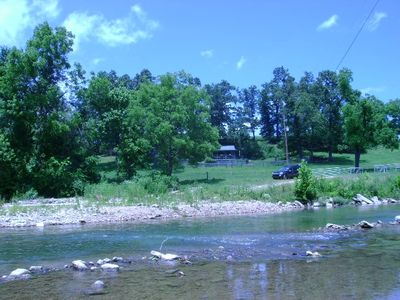 View of cabin from creek