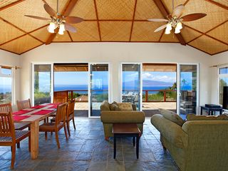 Lahaina house photo - View from living room and dining room - full slider doors open onto upper lanai