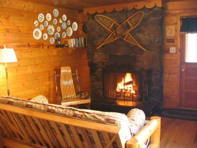 Cabin Living Area: Enjoy a crackling fire year round in your Cozy Cabin!
