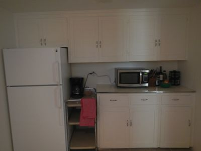 Coffee pot, microwave, all pots, pans, dishes and necessities!