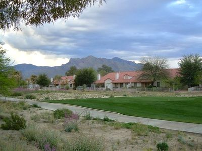 Backyard view of Catalinas and golf course