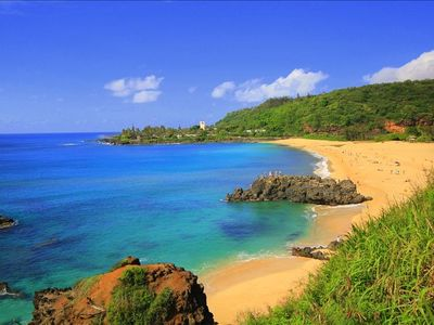 Gorgeous Waimea Bay a short stroll from your vacation home.