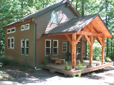 Timber frame cabin located nextt to the Clarion River & North Country Trail