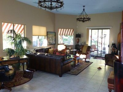 La Quinta house rental - Large great room with f/p, computer desk and view to back yard