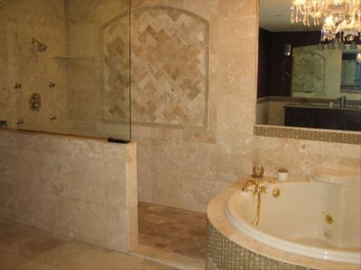 Huge Master bathroom with walk-in shower and jetted tub for bubble bath lovers