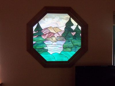 Tahoe Donner chalet rental - Original Stained Glass Window in Living Area