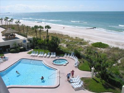 Fabulous corner location with view of the Gulf of Mexico and pool and hot tub.