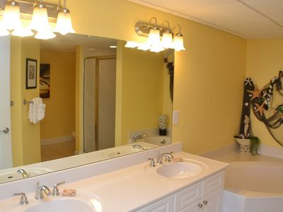 Emerald Beach Resort condo rental - Master Bathroom with Double Vanity, Garden Tub, and Separate Shower