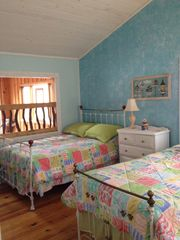 Lake Glenville lodge photo - Bedroom 1 with two twin beds and one double (Overlooks dining area)