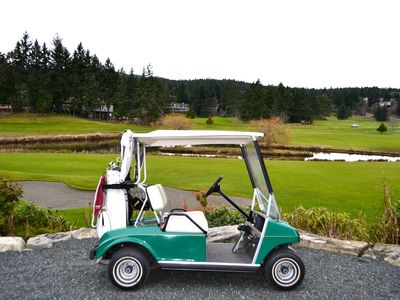 Includes the use of the power golf cart and clubs.