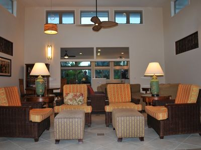 Seating in Main living room which faces the covered lanai with outdoor seating