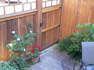Eugene townhome rental - Gate that locks -- carport on other side
