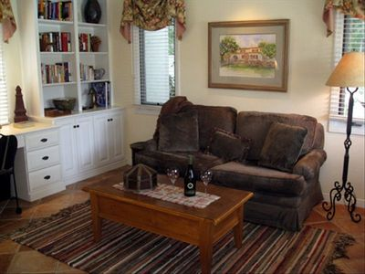 Living Room with convertible queen couch