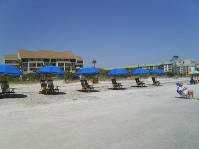 Palmetto Dunes has three miles of private beach. Beach chairs are at the villa.