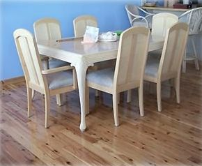 Cypress flooring/dining room