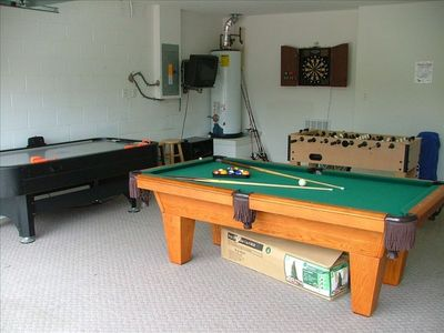 Games room with Pool, Air Hockey, Fussball, Darts, Playstation also fishing rods
