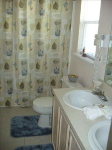Ensuite Bathroom with Shower Toilet & Twin Sink Unit