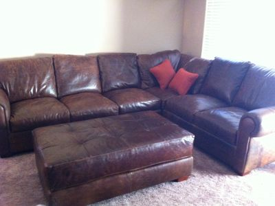 Great leather couch for watching TV or taking a nap!