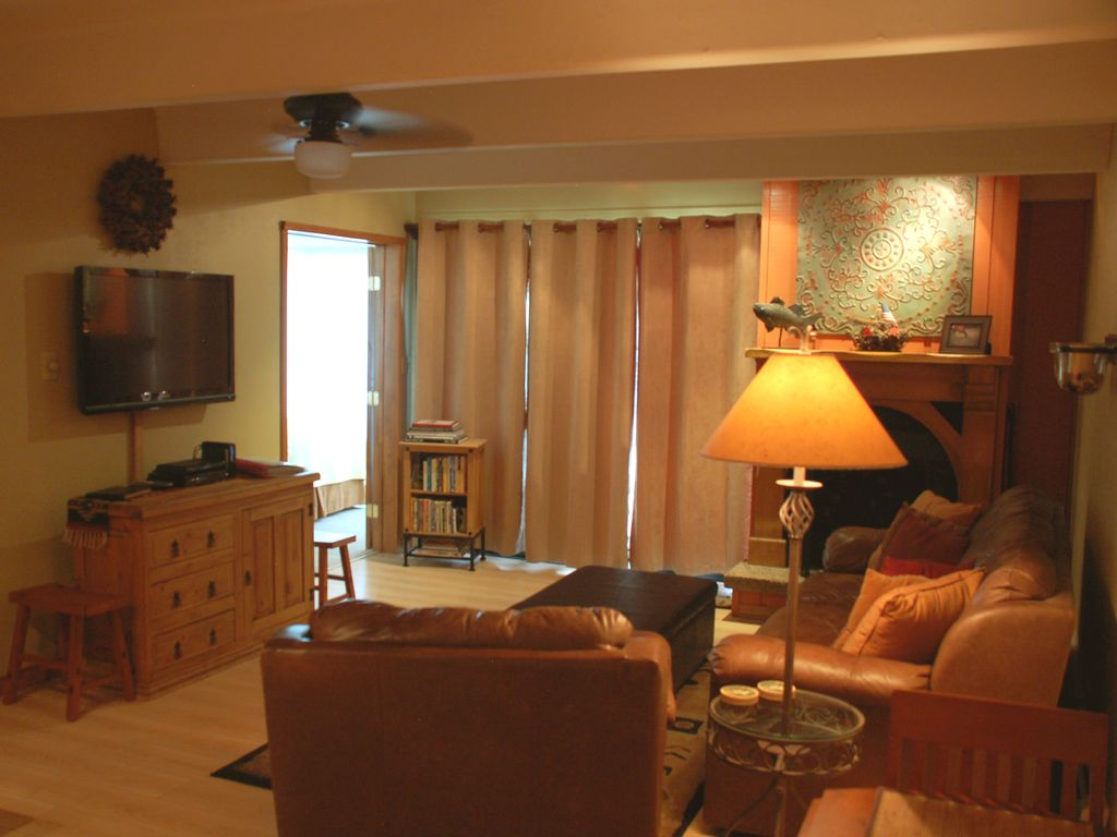 Cozy living room with fireplace and Colorado guidebook  and DVD collection.