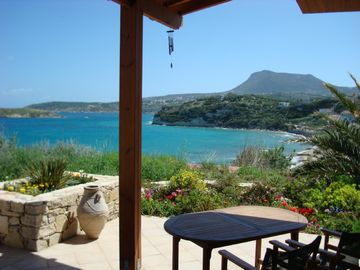 Almirida villa rental - View from front terrace across the bay