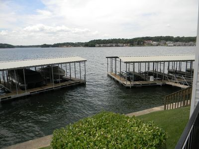 View of Our Boat Slip and Lift from Balcony