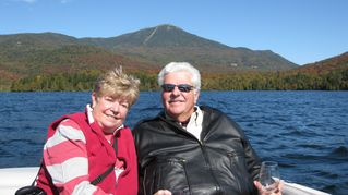 Lake Placid property rental photo - Owners on Lake Placid with great view of Whiteface Mountain in background.